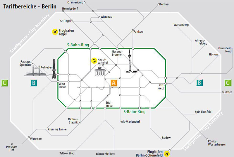 тарифные зоны Берлина на карте