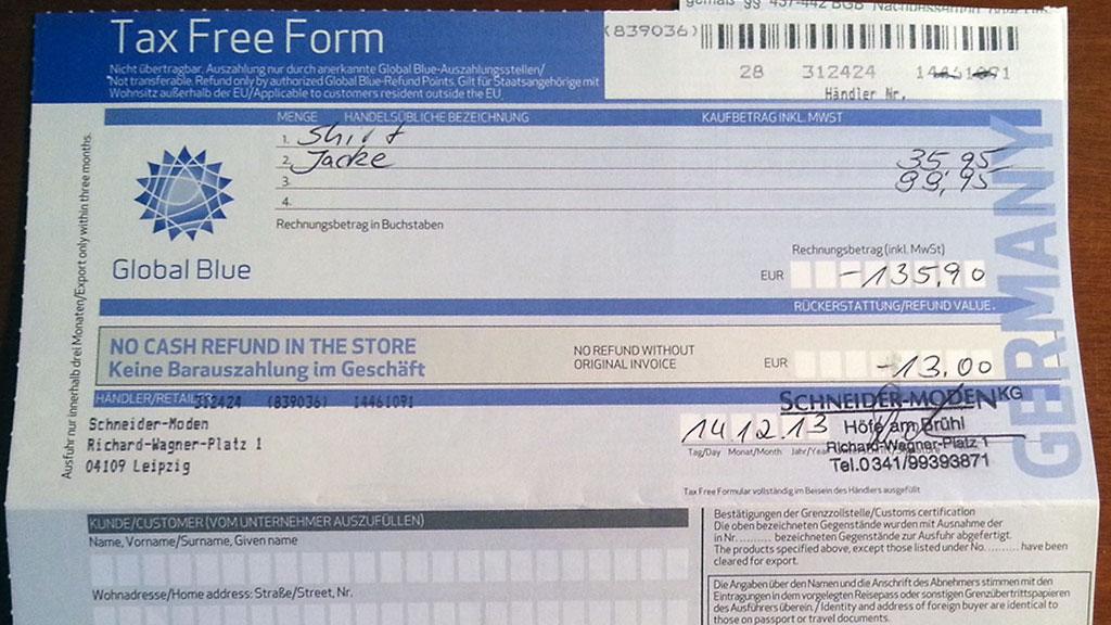 Tax Free form